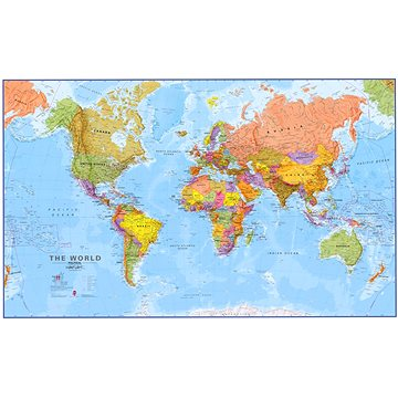 Svět Terra Obří politický 123x198cm, 1:20mil lamino, plastové lišty nástěnná mapa (9781903030578)