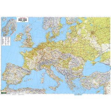 Evropa silniční 90x126cm 3,5mil lamino, plastové lišty nástěnná mapa (9783707903614)