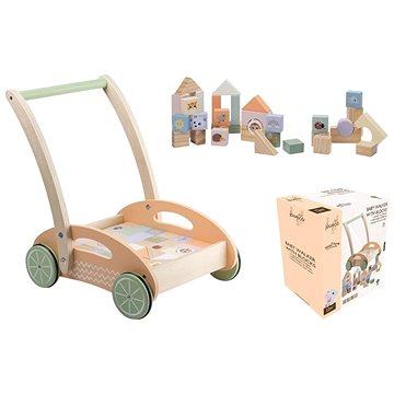 Jouéco The Wildies Family dřevěný vozíček s kostkami (8711866800926)