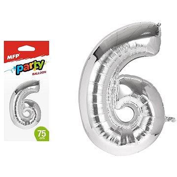 Balónek č. 6 nafukovací fóliový 75 cm (8595138560493)