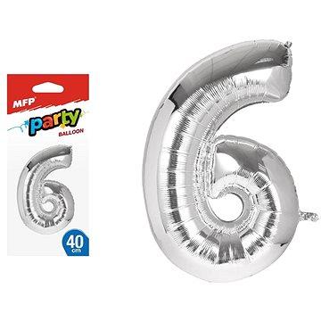 Balónek č. 6 nafukovací fóliový 40 cm (8595138548538)