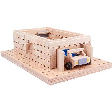 Dřevěná stavebnice Buko - Garáž s autíčkem 98 dílů (708828930942)
