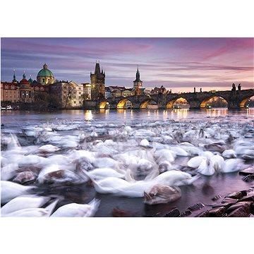Puzzle Praha: Labutě na břehu Vltavy 1000 dílků (4001504596958)