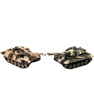 Teddies Tank RC 2ks 25cm tanková bitva+dob. pack 27MHZ a 40MHz maskáč (8592190855390)