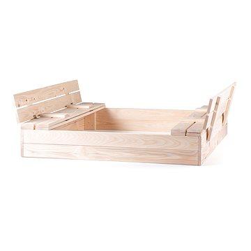 Woody Pískoviště dřevěné s krytem, se 2 lavicemi, natur (8591864103058)