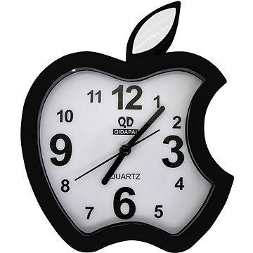 Budík analogový, design jablko, černá (8595235911327)