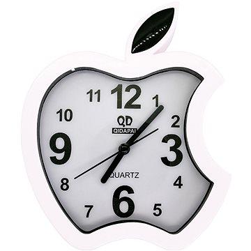 Budík analogový, design jablko, bílá (8595235914069)