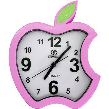 Budík analogový, design jablko, růžová (8595235914076)