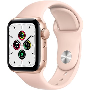 Apple Watch SE 44mm Zlatý hliník s Pískově růžovým sportovním řemínkem (MYDR2HC/A)
