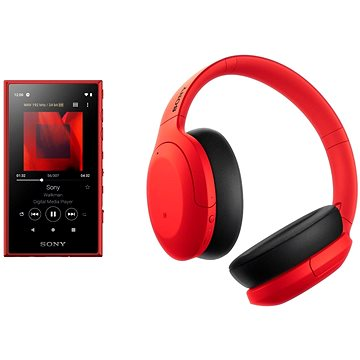 Sony MP4 16GB NW-A105L červený + Sony Hi-Res WH-H910N červeno-černá