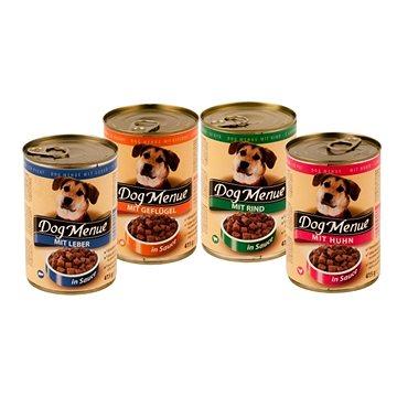 Konzerva Dog Menue mix balení – 4 příchutě – hovězí, drůbeží, játra, kuřecí – 20 × 415 g (9120041364167)