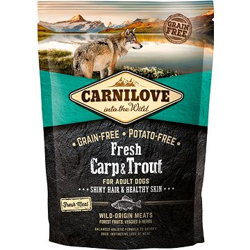 Carnilove fresh carp & trout shiny hair & healthy skin for adult dogs 1,5 kg (8595602527533)