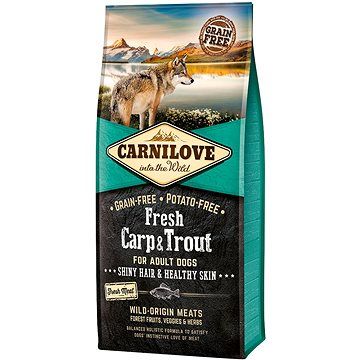 Carnilove fresh carp & trout shiny hair & healthy skin for adult dogs 12 kg (8595602527557)