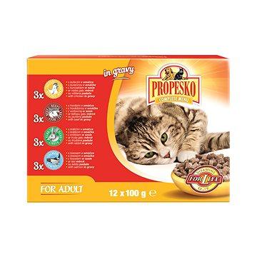 Propesko kapsa kočka kuře+hovězí+králík+losos 12 × 100 g (8594014728675)