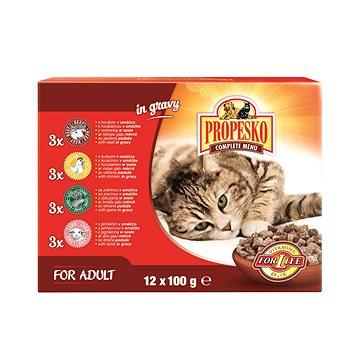 Propesko kapsa kočka kuře+hovězí+zvěřina+jehně 12 × 100 g (8595606400146)