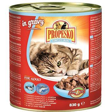 Propesko kousky kočka losos a pstruh v omáčce 830 g (8594014726138)
