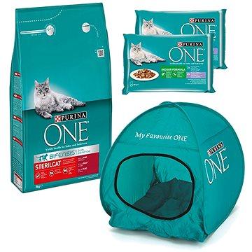 Purina ONE sterilcat s hovězím 3 kg + 2 × Purina One Indoor kapsičky 4 × 85 g + stan pro kočky (KRMs
