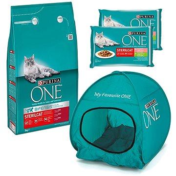Purina ONE sterilcat s hovězím 3 kg + 2 × Purina ONE Sterilcat kapsičky 4 × 85 g + stan pro kočky (K