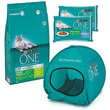 Purina ONE indoor s krůtou 3 kg + 2 × Purina ONE Indoor kapsičky 4 × 85 g + stan pro kočky (KRMsv003