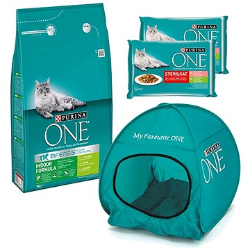 Purina ONE indoor s krůtou 3 kg + 2 × Purina ONE Sterilcat kapsičky 4 × 85 g + stan pro kočky (KRMsv
