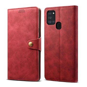 Lenuo Leather pro Samsung Galaxy A21s, červená (470952)