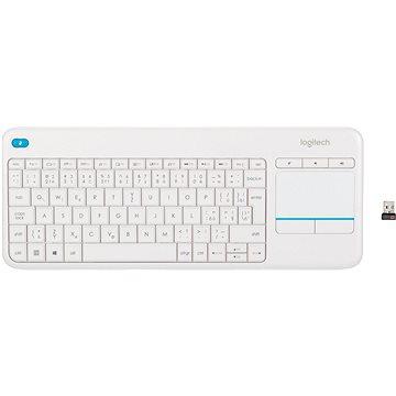 Logitech Wireless Touch Keyboard K400 Plus, bílá - CZ/SK (920-007152)
