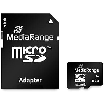 MEDIARANGE microSDHC 8GB Class 10 + SD adaptér (MR957)