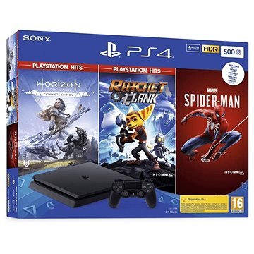 PlayStation 4 Slim 500GB + 3 hry (Spiderman, Horizon Zero Dawn, Ratchet and Clank) (PS719391708)