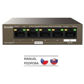 Tenda TEG1105PD Gigabit PoE PD Fanless Switch 30W (TEG1105PD)