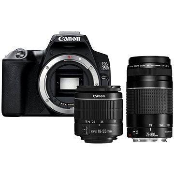 Canon EOS 250D černý + 18-55mm DC III + 75-300mm DC III (3454C016)