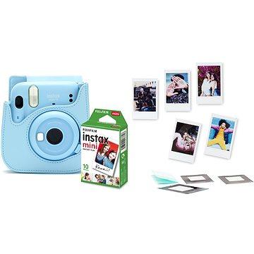 Fujifilm Instax Mini 11 světle modrý + pouzdro + 10x fotopapír + set příslušenství (70100148215)