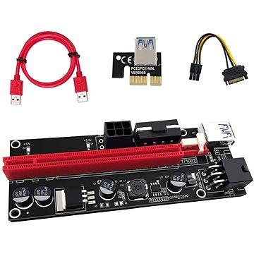 PCIe Riser x1 to x16 card (6-pin,MOLEX,SATA) ver.009 - přímá (43499163425)