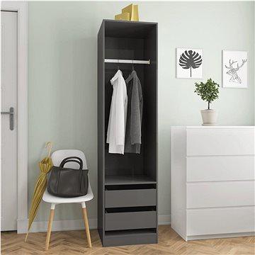 Šatní skříň se zásuvkami šedá lesklá 50x50x200 cm dřevotříska 800620