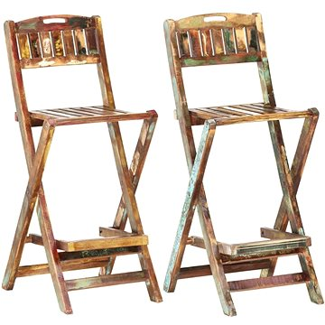 Skládací zahradní barové židle 2 ks masivní recyklované dřevo 285907