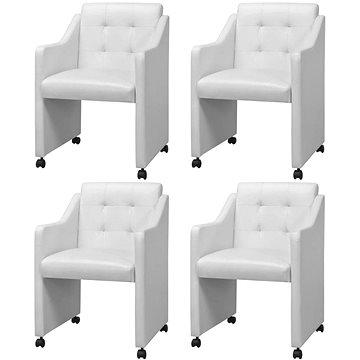 Jídelní židle 4 ks bílé umělá kůže 273738