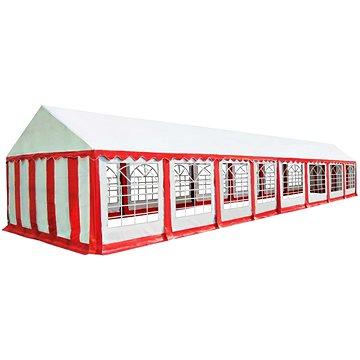 Zahradní altán PVC 6 x 16 m červeno-bílý (274967)