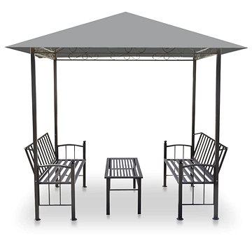 Zahradní altán se stolem a lavicemi 2,5x1,5x2,4 m antracitový (44755)