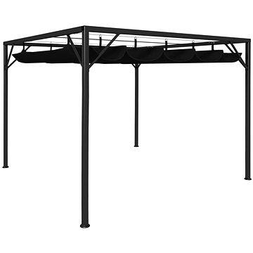 Zahradní altán se zatahovací střechou 3 x 3 m antracitový (47954)