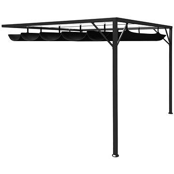 Zahradní nástěnný altán se zatahovací střechou 3x3m antracitový (47955)