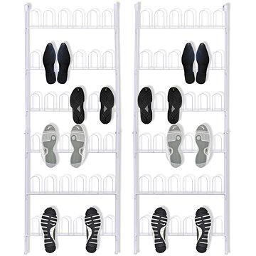 Stojany na boty 18 párů 2 ks ocel bílá 142314