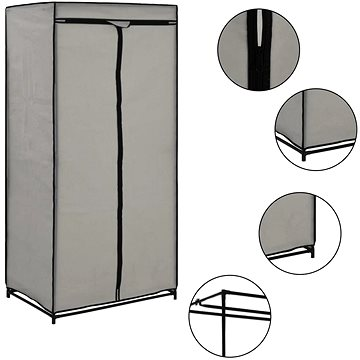 Šatní skříň šedá 75 × 50 × 160 cm