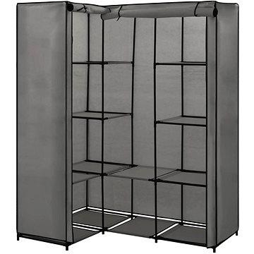 Rohová šatní skříň šedá 130 × 87 × 169 cm
