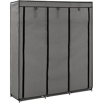 Šatní skříň s přihrádkami a tyčemi šedá 150x45x175 cm textil