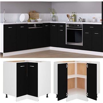 Spodní rohová skříňka černá 75,5 × 75,5 × 80,5 cm dřevotříska