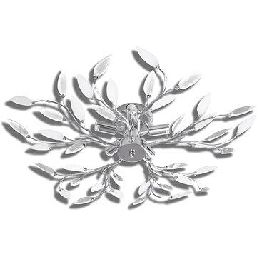 Stropní svítidlo, bílé a čiré křišťálové listy, na 5 žárovek E14