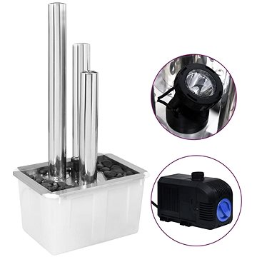 Zahradní fontána stříbrná 48 x 34 x 88 cm nerezová ocel (48090)