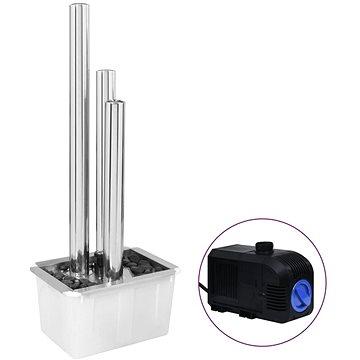 Zahradní fontána stříbrná 48 x 34 x 123 cm nerezová ocel (48091)