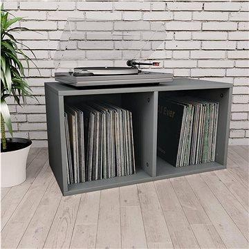 Úložný box na LP desky šedý 71 x 34 x 36 cm dřevotříska (800119)