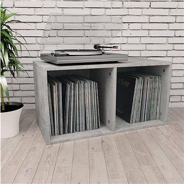 Úložný box na LP desky betonově šedý 71x34x36 cm dřevotříska (800121)
