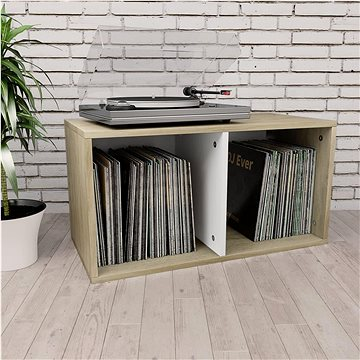 Úložný box na LP desky bílý a dub sonoma 71x34x36cm dřevotříska (800122)